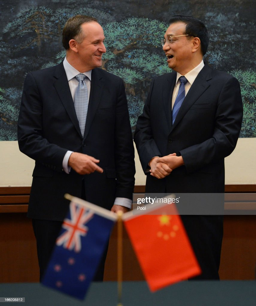 Chinese Premier Li Keqiang (R) speaks with New Zealand's Prime Minister John Key during a meeting at the Great Hall of the People on April 10, 2013 in Beijing, China. Keqiang is hosting a multi day forum welcoming leaders from Mexico, Peru, Kazakhstan, Algeria, Australia, New Zealand and Finland to strengthen diplomatic ties.