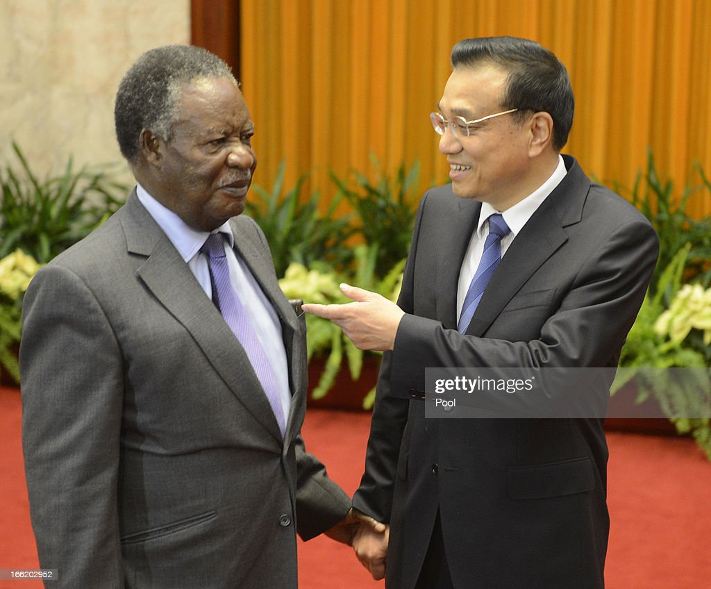 Chinese Premier <a gi-track='captionPersonalityLinkClicked' href=/galleries/search?phrase=Li+Keqiang&family=editorial&specificpeople=2481781 ng-click='$event.stopPropagation()'>Li Keqiang</a> speaks with Zambia's President <a gi-track='captionPersonalityLinkClicked' href=/galleries/search?phrase=Michael+Sata&family=editorial&specificpeople=1944545 ng-click='$event.stopPropagation()'>Michael Sata</a> during a meeting at the Great Hall of the People on April 10, 2013 in Beijing, China. Keqiang is hosting a multi day forum welcoming leaders from Mexico, Peru, Kazakhstan, Algeria, Australia, New Zealand and Finland to strengthen diplomatic ties.