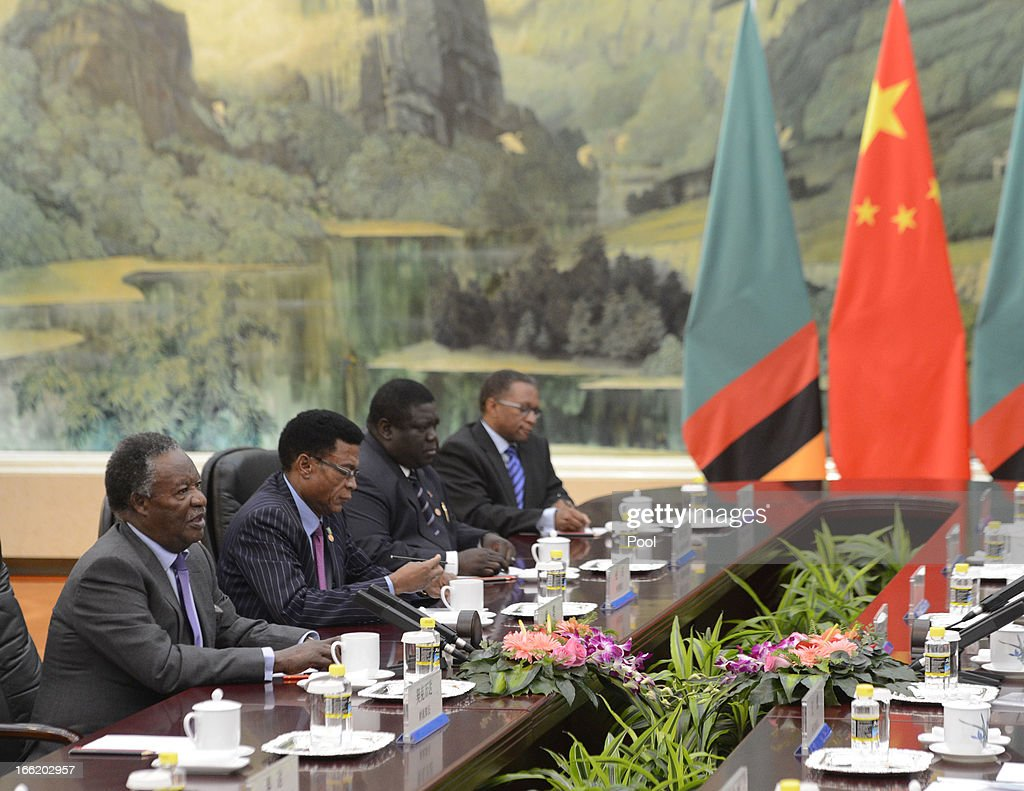 Chinese Premier Li Keqiang speaks with Zambia's President Michael Sata during a meeting at the Great Hall of the People on April 10, 2013 in Beijing, China. Keqiang is hosting a multi day forum welcoming leaders from Mexico, Peru, Kazakhstan, Algeria, Australia, New Zealand and Finland to strengthen diplomatic ties.
