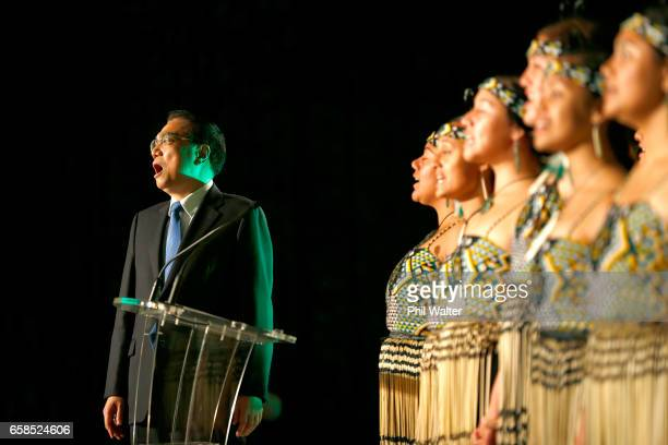 Chinese Premier Li Keqiang watches a maori cultural performance during a Trade and Enterprise function at the Langham Hotel on March 28 2017 in...