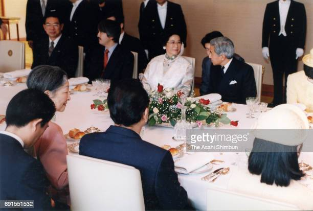 Chinese Premier Li Peng and his wife Zhu Lin attend the luncheon with Emperor Akihito and Empress Michiko at the Imperial Palace on November 12 1997...