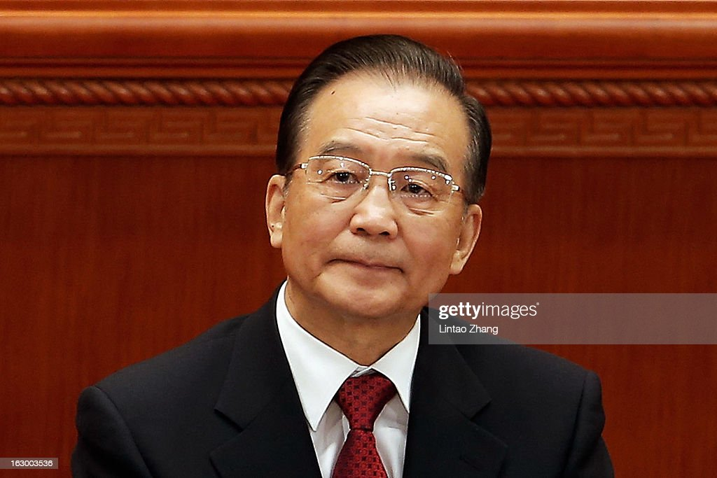 Chinese Premier Wen Jiabao attend the opening session of the Chinese People's Political Consultative Conference at Great Hall of the People on March 3, 2013 in Beijing, China. Over 2000 members of the 12th National Committee of the Chinese People's Political Consultative, a political advisory body, are attending the annual session, during which they will discuss the development of China.
