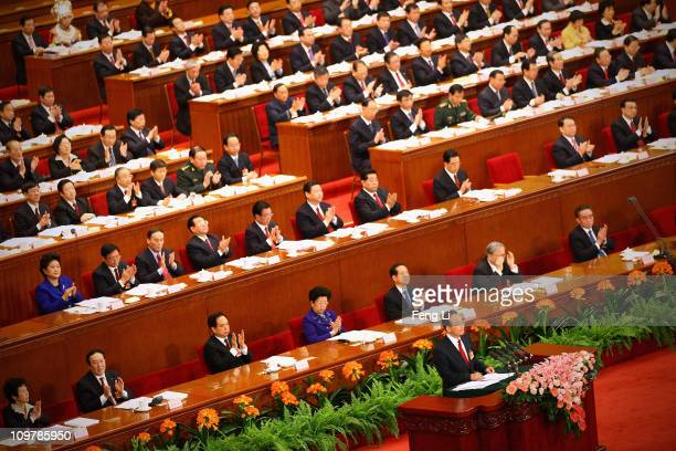 Chinese Premier Wen Jiabao delivers the government report at the opening session of the annual National People's Congress on March 5 2011 in Beijing...
