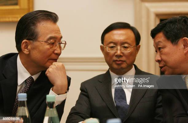 Chinese Premier Wen Jiabao his Foreign Minister Yang Jiechi and Minister of Commerce Chen Deming attend a meeting with young business people at the...