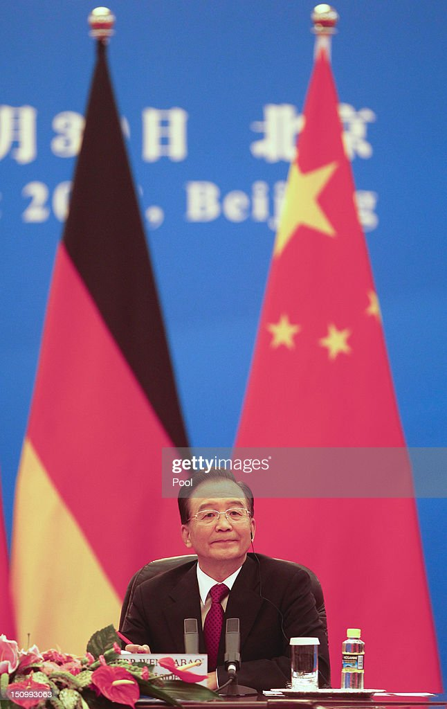 Chinese Premier <a gi-track='captionPersonalityLinkClicked' href=/galleries/search?phrase=Wen+Jiabao&family=editorial&specificpeople=204598 ng-click='$event.stopPropagation()'>Wen Jiabao</a> is seen during bilateral talks with German Chancellor Angela Merkel inside the Great Hall of the People on August 30, 2012 in Beijing, China. Merkel is on a two-day official visit to China.
