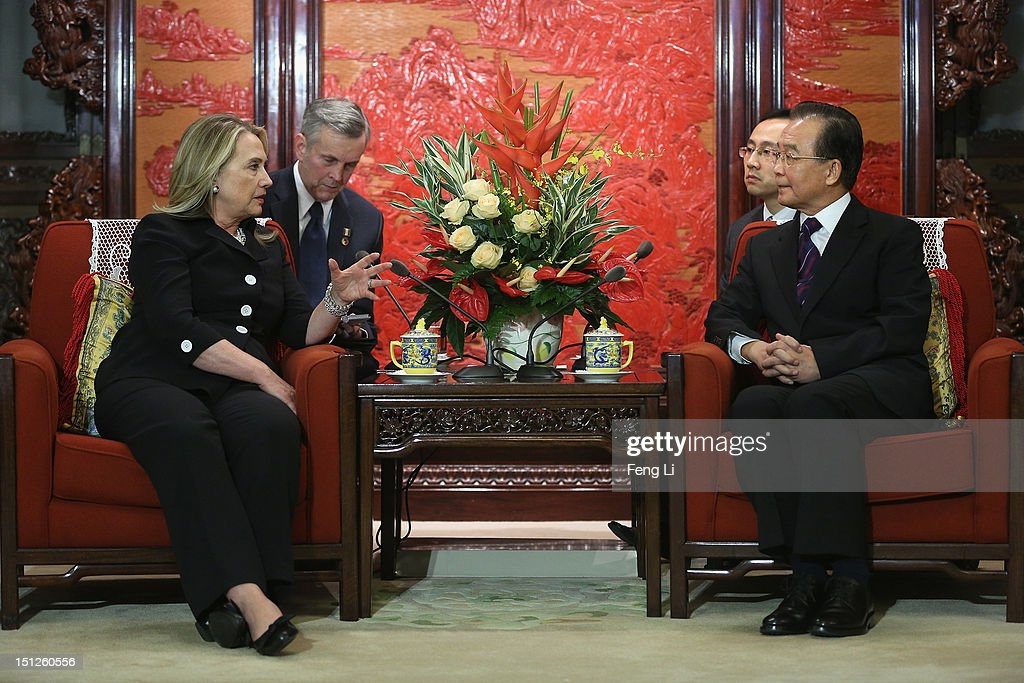 Chinese Premier Wen Jiabao (R) meets with US Secretary of State Hillary Clinton (L) at the Ziguangge Pavilion in the Zhongnanhai leaders' compound in Beijing on September 5, 2012.