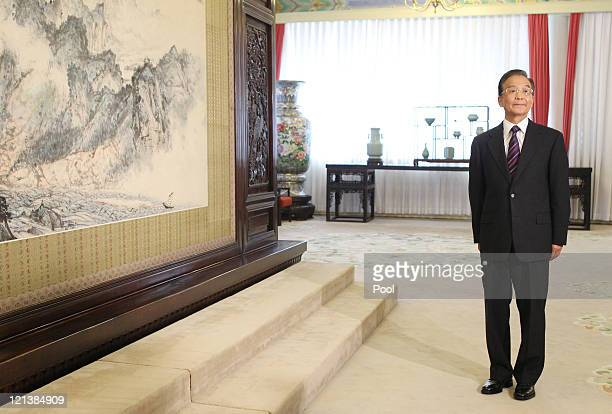 Chinese Premier Wen Jiabao poses for the cameras during a meeting with US Vice President Joe Biden at the Zhongnanhai leaders' compound on 19 August...