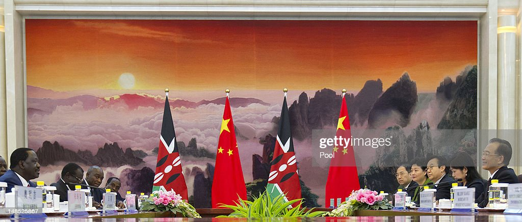 Chinese Premier <a gi-track='captionPersonalityLinkClicked' href=/galleries/search?phrase=Wen+Jiabao&family=editorial&specificpeople=204598 ng-click='$event.stopPropagation()'>Wen Jiabao</a> (R) talks with Kenyan Prime Minister <a gi-track='captionPersonalityLinkClicked' href=/galleries/search?phrase=Raila+Odinga&family=editorial&specificpeople=2147626 ng-click='$event.stopPropagation()'>Raila Odinga</a> (L)during their meeting at the Great Hall of the People of the People July 18, 2012 in Beijing, China,