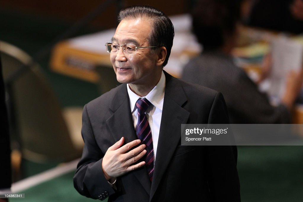 Chinese Premier <a gi-track='captionPersonalityLinkClicked' href=/galleries/search?phrase=Wen+Jiabao&family=editorial&specificpeople=204598 ng-click='$event.stopPropagation()'>Wen Jiabao</a> walks on stage before addressing world leaders during the General Assembly at the United Nations on September 23, 2010 in New York City. The annual gathering looks to highlight pressing global problems of war, poverty and environmental degradation.
