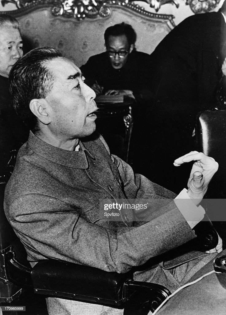 Chinese premier zhou enlai giving a press conference in cairo egypt before going on to algeria morocco and albania december 1963 he said his trip did...