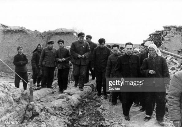 Chinese Premier Zhou Enlai visiting the site of destruction the day after a strong earthquake hit the vicinity of Xingtai in northern China's Hebei...