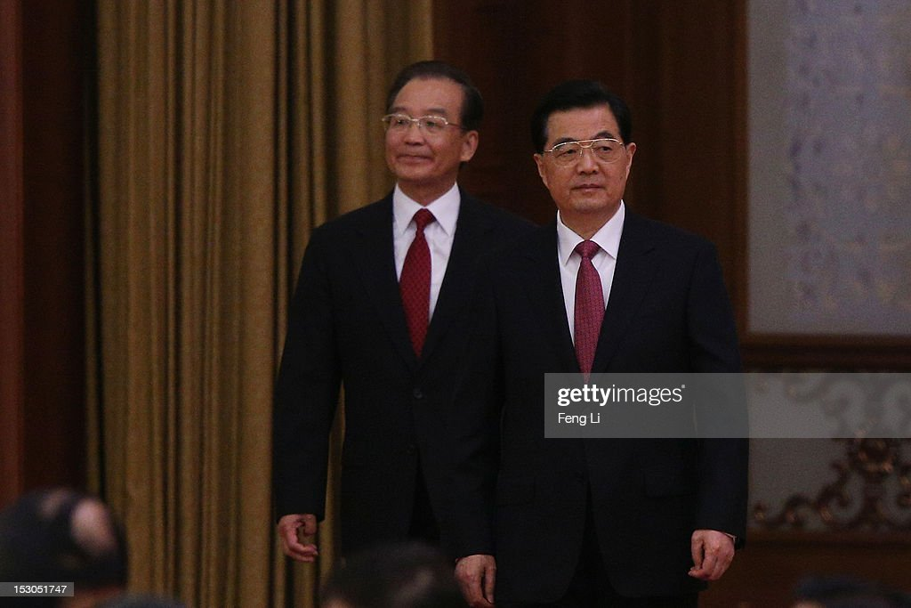 Chinese President <a gi-track='captionPersonalityLinkClicked' href=/galleries/search?phrase=Hu+Jintao&family=editorial&specificpeople=203109 ng-click='$event.stopPropagation()'>Hu Jintao</a> (R) and Chinese Prime Minister <a gi-track='captionPersonalityLinkClicked' href=/galleries/search?phrase=Wen+Jiabao&family=editorial&specificpeople=204598 ng-click='$event.stopPropagation()'>Wen Jiabao</a> (L) attend the banquet marking the 63th anniversary of the founding of the People's Republic of China on September 29, 2012 at the Great Hall of the People in Beijing, China. China must steadfastly advance institutional reforms in economic, political, cultural, social and other fields and stick to the opening-up policy, Premier <a gi-track='captionPersonalityLinkClicked' href=/galleries/search?phrase=Wen+Jiabao&family=editorial&specificpeople=204598 ng-click='$event.stopPropagation()'>Wen Jiabao</a> said on Saturday.