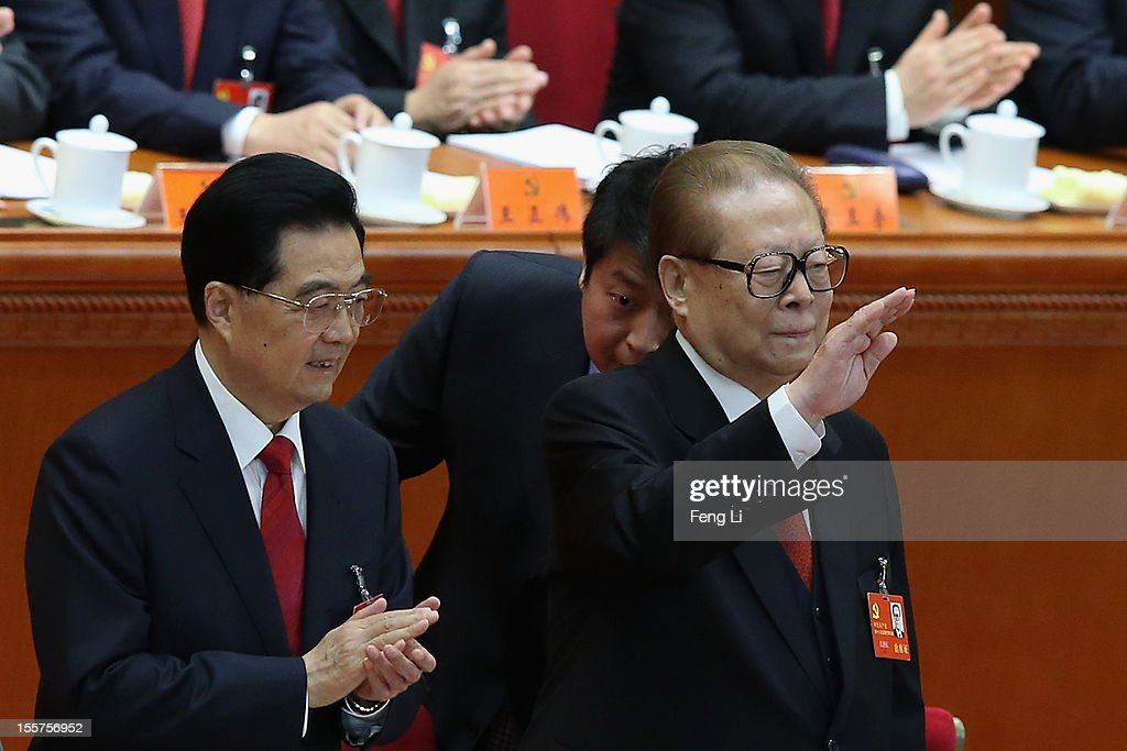 Chinese President <a gi-track='captionPersonalityLinkClicked' href=/galleries/search?phrase=Hu+Jintao&family=editorial&specificpeople=203109 ng-click='$event.stopPropagation()'>Hu Jintao</a> (L) and former Chinese President <a gi-track='captionPersonalityLinkClicked' href=/galleries/search?phrase=Jiang+Zemin&family=editorial&specificpeople=159399 ng-click='$event.stopPropagation()'>Jiang Zemin</a> (R) attend the opening session of the 18th Communist Party Congress held at the Great Hall of the People on November 8, 2012 in Beijing, China. The Communist Party Congress will convene from November 8-14 and will determine the party's next leaders.