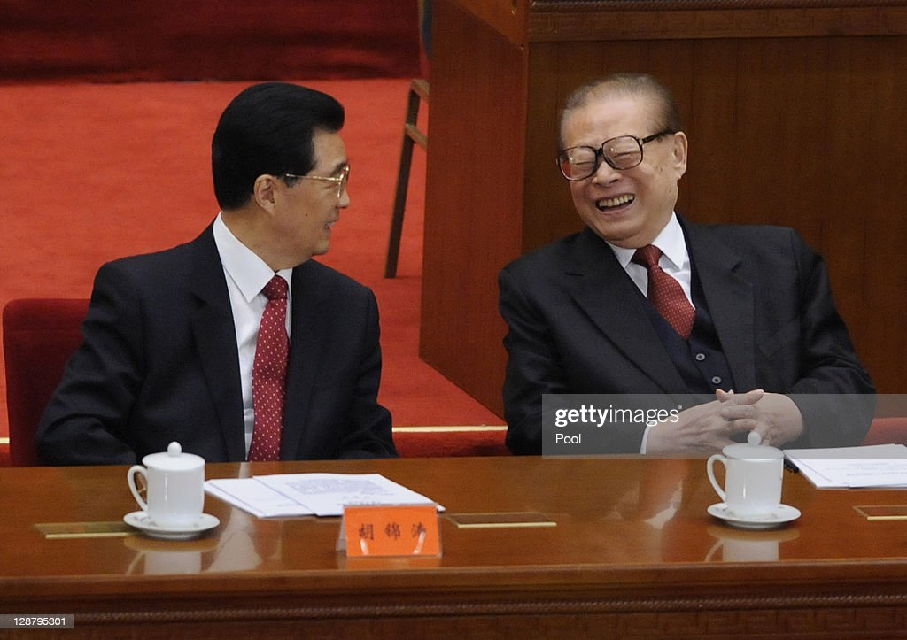 Chinese president Hu Jintao and Former president Jiang Zemin attend the Commemoration of the 100th anniversary of the Xinhai Revolution at the Great...