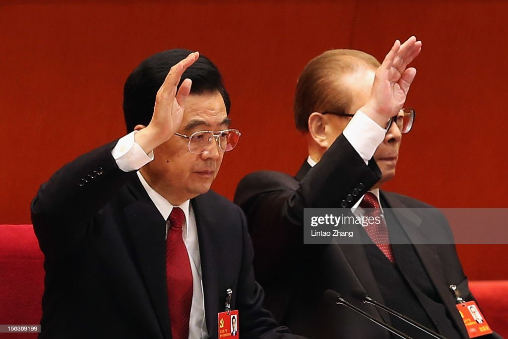 Chinese President Hu Jintao (L) and former president <a gi-track='captionPersonalityLinkClicked' href=/galleries/search?phrase=Jiang+Zemin&family=editorial&specificpeople=159399 ng-click='$event.stopPropagation()'>Jiang Zemin</a> vote at the closing of the 18th Communist Party Congress at the Great Hall of the People on November 14, 2012 in Beijing, China. The Communist Party Congress will convene from November 8-14 and will determine the party's next leaders.