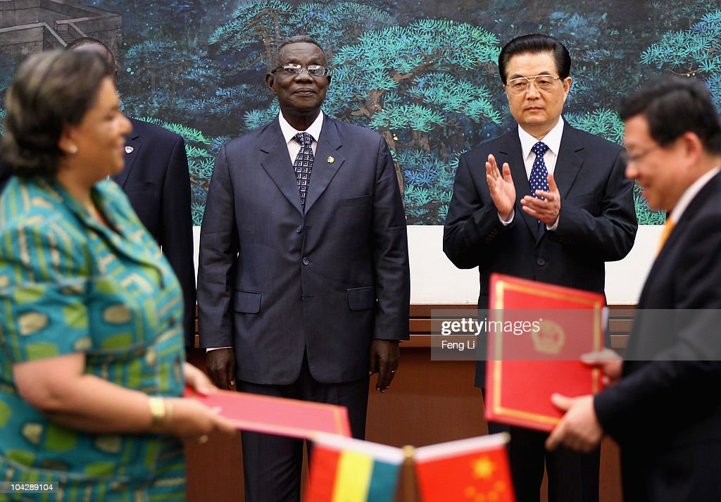 Chinese President <a gi-track='captionPersonalityLinkClicked' href=/galleries/search?phrase=Hu+Jintao&family=editorial&specificpeople=203109 ng-click='$event.stopPropagation()'>Hu Jintao</a> (2nd R) and Ghana's President <a gi-track='captionPersonalityLinkClicked' href=/galleries/search?phrase=John+Atta+Mills&family=editorial&specificpeople=2650122 ng-click='$event.stopPropagation()'>John Atta Mills</a> (2nd L) attend a signing ceremony at the Great Hall of the People on September 20, 2010 in Beijing, China. Ghana's President <a gi-track='captionPersonalityLinkClicked' href=/galleries/search?phrase=John+Atta+Mills&family=editorial&specificpeople=2650122 ng-click='$event.stopPropagation()'>John Atta Mills</a> is on a a six-day state visit to China.
