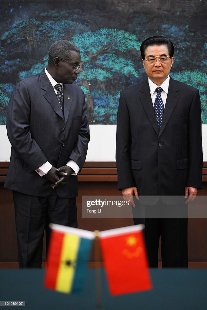Chinese President <a gi-track='captionPersonalityLinkClicked' href=/galleries/search?phrase=Hu+Jintao&family=editorial&specificpeople=203109 ng-click='$event.stopPropagation()'>Hu Jintao</a> (R) and Ghana's President <a gi-track='captionPersonalityLinkClicked' href=/galleries/search?phrase=John+Atta+Mills&family=editorial&specificpeople=2650122 ng-click='$event.stopPropagation()'>John Atta Mills</a> (L) attend a signing ceremony at the Great Hall of the People on September 20, 2010 in Beijing, China. Ghana's President <a gi-track='captionPersonalityLinkClicked' href=/galleries/search?phrase=John+Atta+Mills&family=editorial&specificpeople=2650122 ng-click='$event.stopPropagation()'>John Atta Mills</a> is on a a six-day state visit to China.
