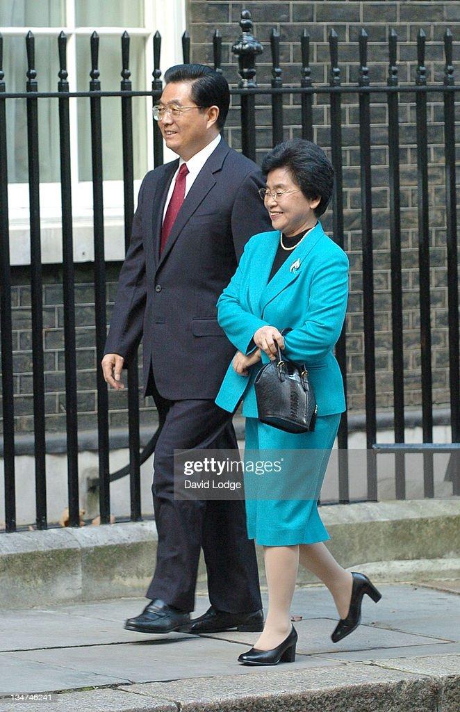 Chinese President Hu Jintao and Wife Liu Yongqing during Chinese President Hu Jintao and Wife Liu Yongqing Vist 10 Downing Street November 9 2005 at...