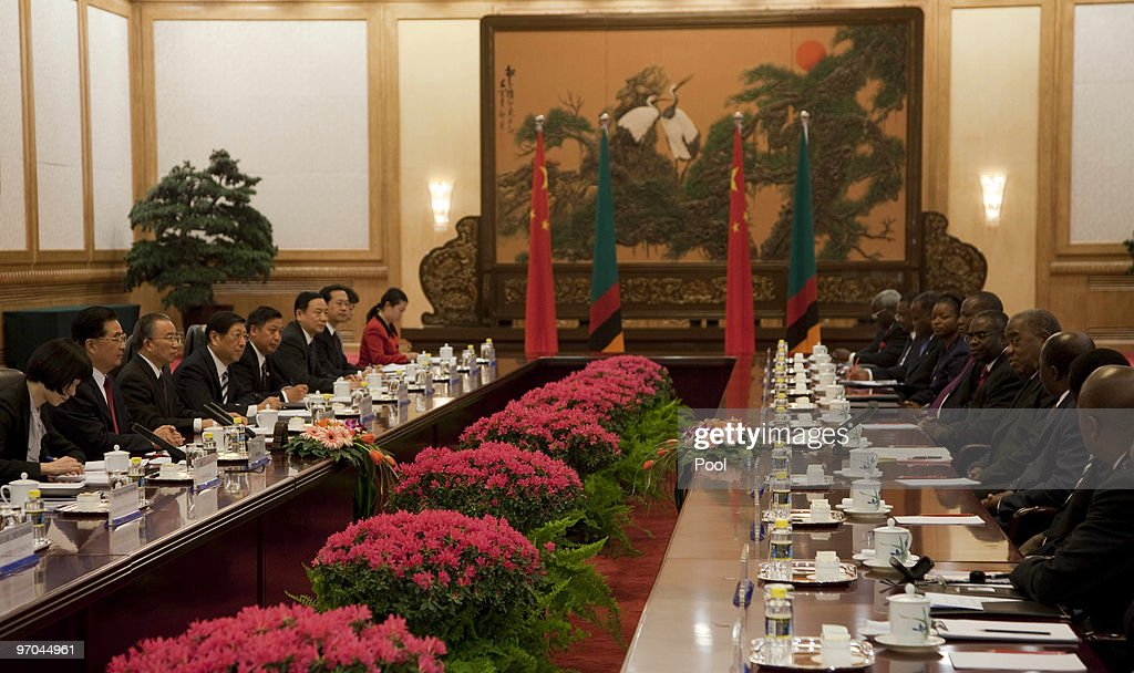 Chinese President Hu Jintao and Zambian President Rupiah Bwezani Banda attend talks in the Great Hall of the People in Beijing China on February 25...