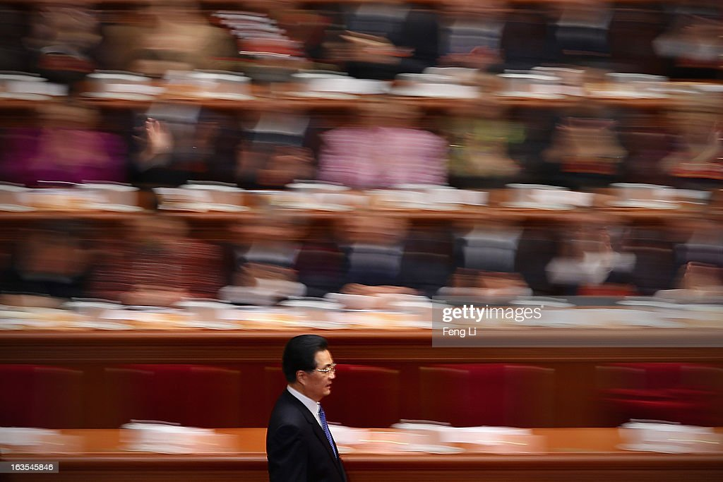 Chinese President <a gi-track='captionPersonalityLinkClicked' href=/galleries/search?phrase=Hu+Jintao&family=editorial&specificpeople=203109 ng-click='$event.stopPropagation()'>Hu Jintao</a> arrives for the closing session of the annual Chinese People's Political Consultative Conference (CPPCC) held at the Great Hall of the People on March 12, 2013 in Beijing, China. The newly-elected Chairman of the CPPCC Yu Zhengsheng pledged Tuesday that China will not copy Western political systems under any circumstances.