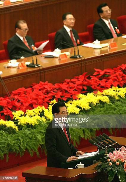 Chinese President Hu Jintao delivers his address with former president Jiang Zemin Premier Wen Jiabao and Vice President Zeng Qinghong in the...