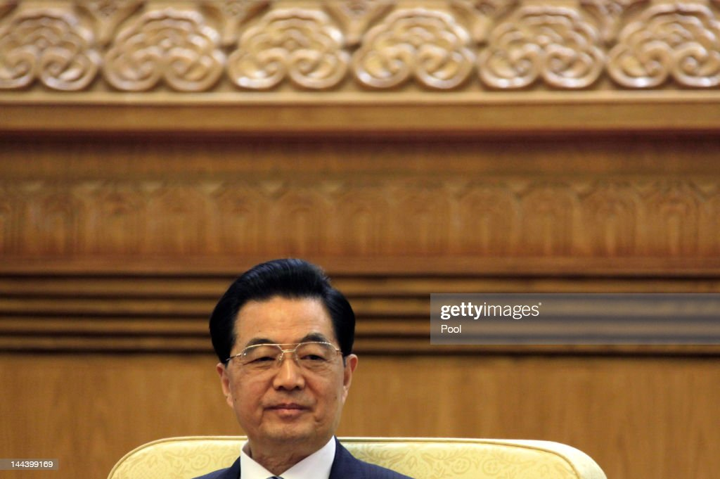 Chinese President <a gi-track='captionPersonalityLinkClicked' href=/galleries/search?phrase=Hu+Jintao&family=editorial&specificpeople=203109 ng-click='$event.stopPropagation()'>Hu Jintao</a> holds a meeting with his South Korean counterpart Lee Myung-bak and Japan's Prime Minister Yoshihiko Noda during the fifth trilateral summit among China, South Korea and Japan at the Great Hall of the People in Beijing, May 14, 2012. The three nations are meeting for talks focused on maintaining strong relations, the global economy and disaster relief. The trilateral summits began in 2008.