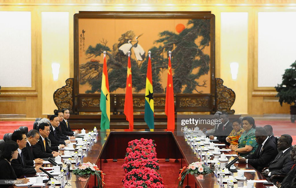 Chinese President <a gi-track='captionPersonalityLinkClicked' href=/galleries/search?phrase=Hu+Jintao&family=editorial&specificpeople=203109 ng-click='$event.stopPropagation()'>Hu Jintao</a> (2nd L) meets Ghana's President <a gi-track='captionPersonalityLinkClicked' href=/galleries/search?phrase=John+Atta+Mills&family=editorial&specificpeople=2650122 ng-click='$event.stopPropagation()'>John Atta Mills</a> (R) after a welcoming ceremony at the Great Hall of the People on September 20, 2010 in Beijing, China. Ghana's President <a gi-track='captionPersonalityLinkClicked' href=/galleries/search?phrase=John+Atta+Mills&family=editorial&specificpeople=2650122 ng-click='$event.stopPropagation()'>John Atta Mills</a> is on a a six-day state visit to China.