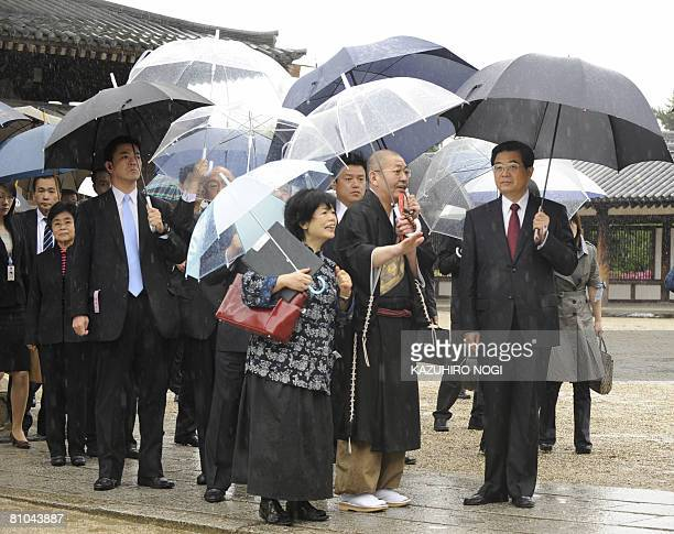 Chinese President Hu Jintao visits the Horyuji temple in Ikaruga Nara Prefecture on May 10 2008 Hu is to visit tourist sites here wrapping up his...