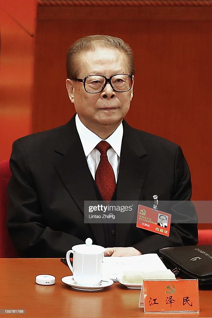 Chinese President Jiang Zemin attend the opening session of the18th Communist Party Congress held at the Great Hall of the People on November 8 2012...