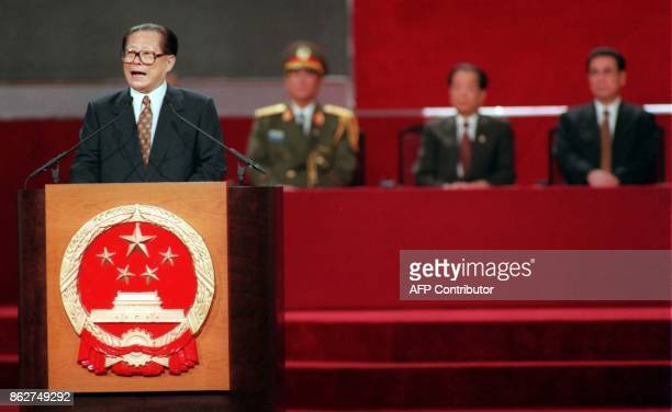 Chinese President Jiang Zemin delivers his speech at the Handover ceremony June 30 AFP PHOTO/POOL/Kimimasa Mayama / AFP PHOTO / POOL / KIMIMASA MAYAMA