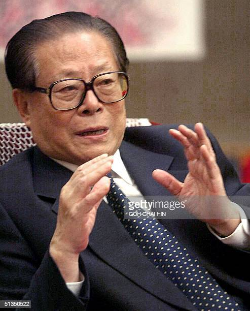 Chinese President Jiang Zemin gestures during an interview with Welt am Sonntag correspondents at Zhongnanhai the Chinese leadership compound in...