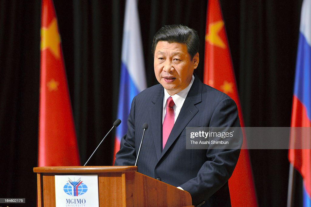 Chinese President <a gi-track='captionPersonalityLinkClicked' href=/galleries/search?phrase=Xi+Jinping&family=editorial&specificpeople=2598986 ng-click='$event.stopPropagation()'>Xi Jinping</a> addresses at Moscow State Institute of International Relations on March 23, 2013 in Moscow, Russia. Xi is making his first foreign visit as China's leader in a move described as demonstrating the two countries' economic interdependence.