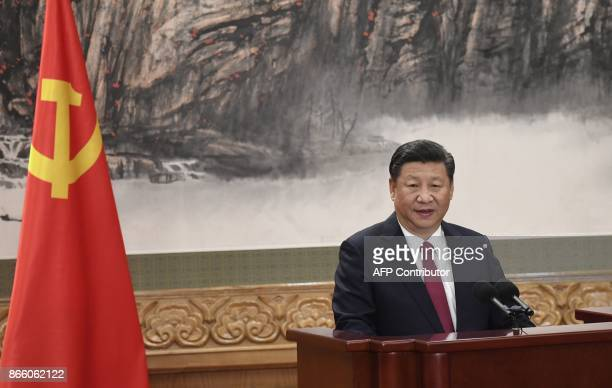 TOPSHOT Chinese President Xi Jinping addresses the press at the Great Hall of the People in Beijing on October 25 2017 China on October 25 unveiled...