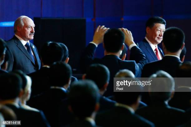 Chinese President Xi Jinping and Belarus President Alexander Lukashenko arrive at the opening ceremony of the Belt and Road Forum on May 14 2017 in...