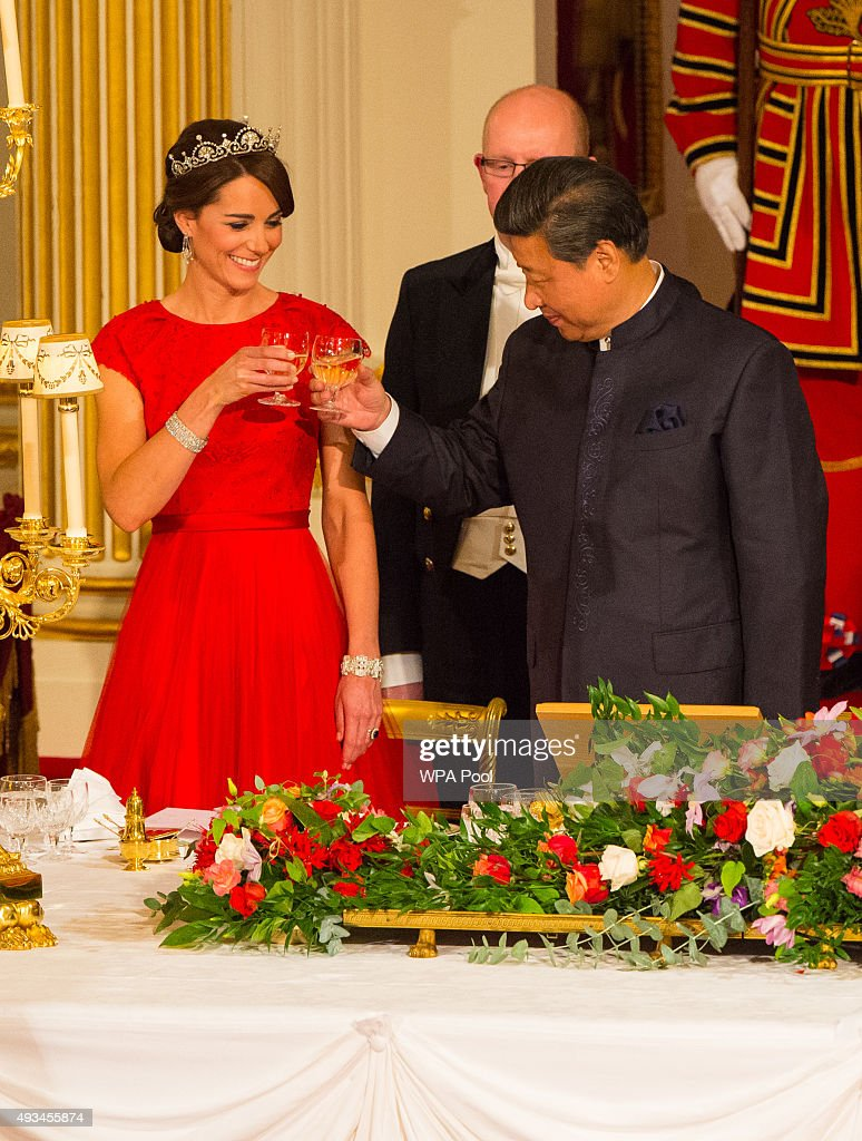 Chinese President Xi Jinping and Catherine, Duchess of Cambridge attend a state banquet at Buckingham Palace on October 20, 2015 in London, England. The President of the People's Republic of China, Mr Xi Jinping and his wife, Madame Peng Liyuan, are paying a State Visit to the United Kingdom as guests of the Queen. They will stay at Buckingham Palace and undertake engagements in London and Manchester. The last state visit paid by a Chinese President to the UK was Hu Jintao in 2005.