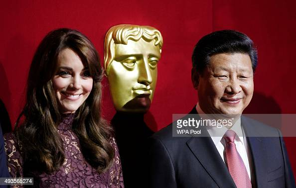 Chinese President Xi Jinping and Catherine Duchess of Cambridge attend a BAFTA presentation at Lancaster Houseon October 21 2015 in London England...