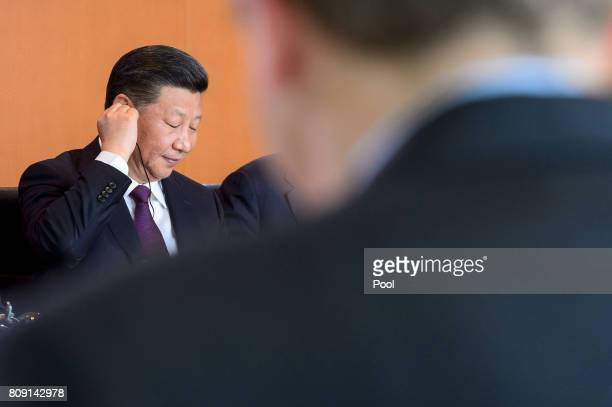 Chinese President Xi Jinping and Chancellor Angela Merkel hold Bilateral talks at the German Chancellery on July 5 2017 in Berlin Germany Chinese...