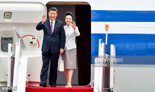Chinese President Xi Jinping and first lady Peng Liyuan arrive at Hong Kong International Airport on June 29 2017 in Hong Kong Chinese President Xi...