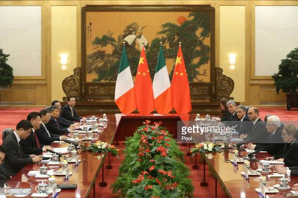Chinese President Xi Jinping and Italian President Sergio Mattarella hold a meeting at the Great Hall of the People in Beijing China 22 February 2017...