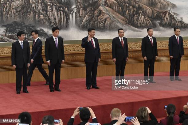 Chinese President Xi Jinping and other new members of the Communist Party of China's Politburo Standing Committee Wang Huning Han Zheng Li Zhanshu Li...
