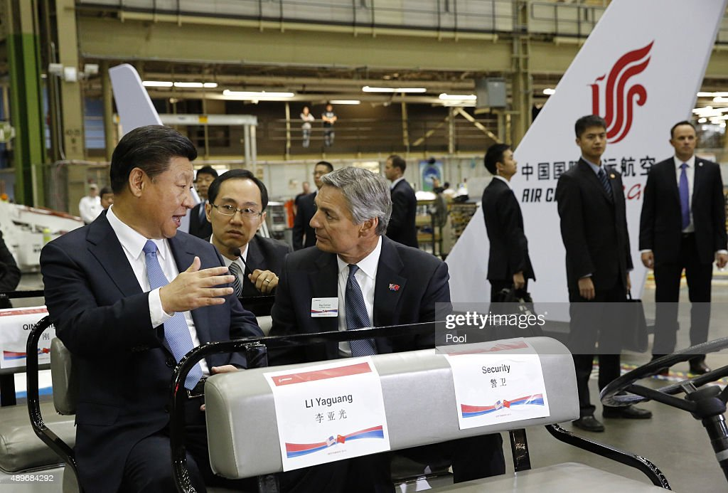 Chinese President Xi Jinping and Ray Conner president and CEO Boeing Commercial Airplanes tour the Boeing assembly line on September 23 in Everett...