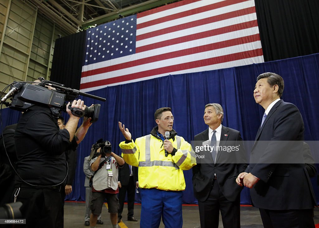 Chinese President Xi Jinping and Ray Conner president and CEO Boeing Commercial Airplanes tour the Boeing assembly line on September 23 in Seattle...