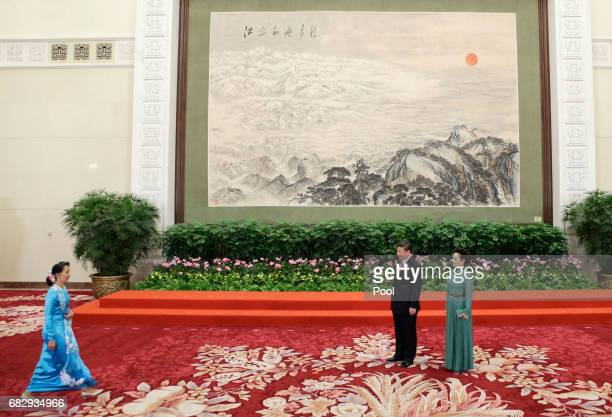 Chinese President Xi Jinping and wife Peng Liyuan welcome Myanmar State Counsellor Aung San Suu Kyi at the welcoming banquet for the Belt and Road...