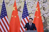 Chinese President Xi Jinping answers media's question during a press conference with US President Barack Obama at the Great Hall of People on...