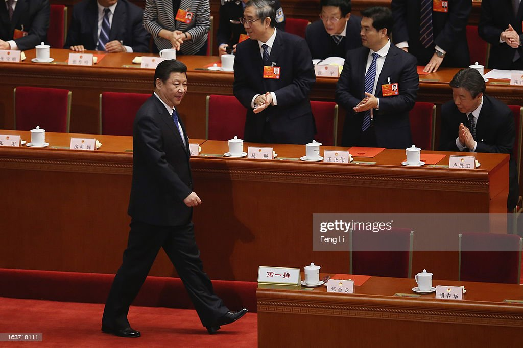 Chinese President <a gi-track='captionPersonalityLinkClicked' href=/galleries/search?phrase=Xi+Jinping&family=editorial&specificpeople=2598986 ng-click='$event.stopPropagation()'>Xi Jinping</a> arrives the fifth plenary meeting of the National People's Congress at the Great Hall of the People on March 15, 2013 in Beijing, China. Li Keqiang was elected as China's Premier Friday at the 12th National People's Congress, the country's top legislature.