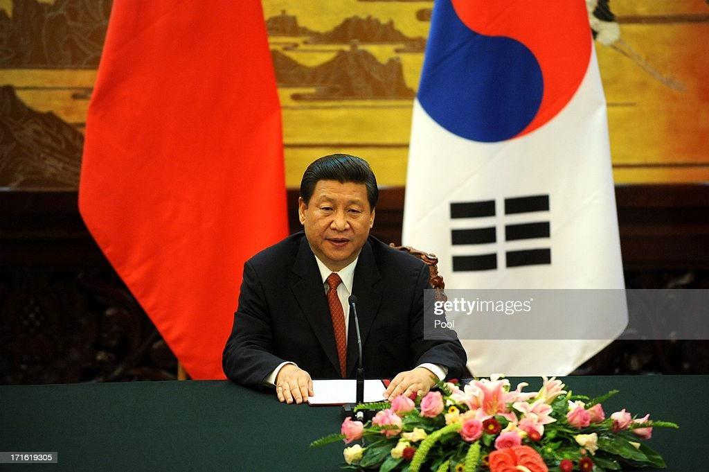 Chinese President Xi Jinping attends a joint declaration ceremony with South Korean President Park Geun-Hye at the Great Hall of the People on June 27, 2013 in Beijing, China. Park Geun-Hye is visiting China from June 27 to 30.