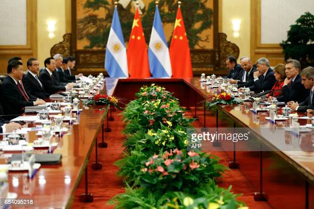 Chinese President Xi Jinping attends a meeting with Argentina's President Mauricio Macri at the Great Hall of the People in Beijing on May 17 2017...