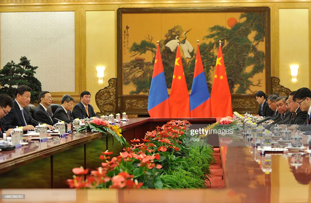 Chinese President <a gi-track='captionPersonalityLinkClicked' href=/galleries/search?phrase=Xi+Jinping&family=editorial&specificpeople=2598986 ng-click='$event.stopPropagation()'>Xi Jinping</a> (second from left), attends a meeting with Mongolian President <a gi-track='captionPersonalityLinkClicked' href=/galleries/search?phrase=Tsakhiagiin+Elbegdorj&family=editorial&specificpeople=5427078 ng-click='$event.stopPropagation()'>Tsakhiagiin Elbegdorj</a> (second from right) at the Great Hall of the People on September 3, 2015 in Beijing, China. China is marking the 70th anniversary of the end of World War II and its role in defeating Japan with a new national holiday and a military parade in Beijing.