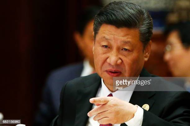 Chinese President Xi Jinping attends a summit at the Belt and Road Forum on May 15 2017 in Beijing China The Belt and Road Forum focuses on the One...