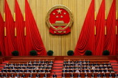 Chinese President Xi Jinping attends the fifth plenary meeting of the National People's Congress at the Great Hall of the People on March 15 2013 in...
